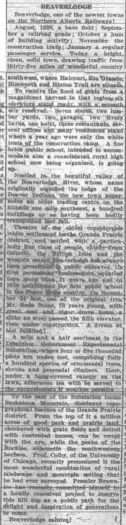 Grande Prairie Herald ~ September 6, 1929 ~ Beaverlodge