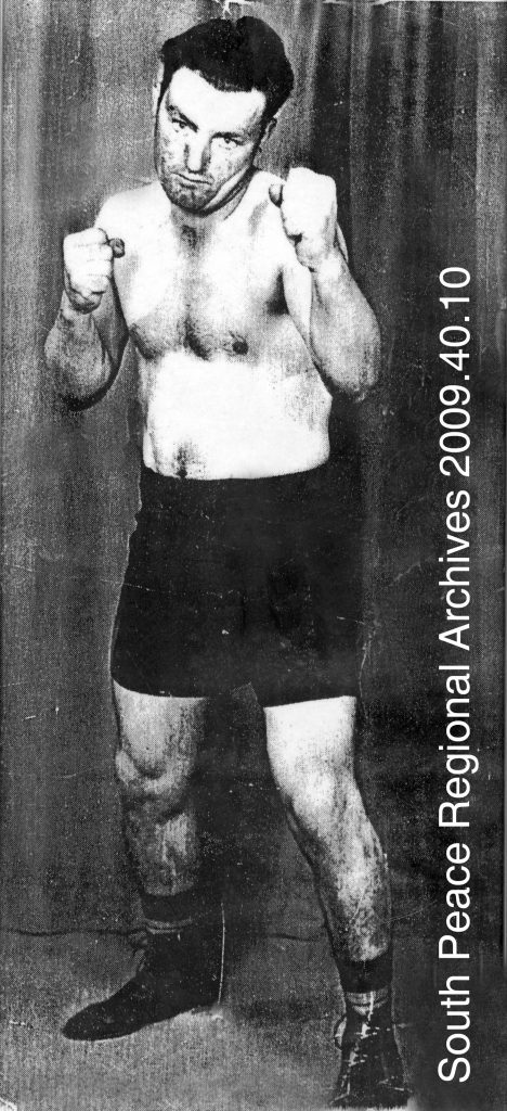 Haina Kirstien, winner in the 185 lb. novice class of the Provincial Amateur Boxing Championships held in Grande Prairie March 18, 1950.