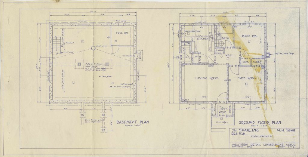 blue print for basement and ground floor of a school