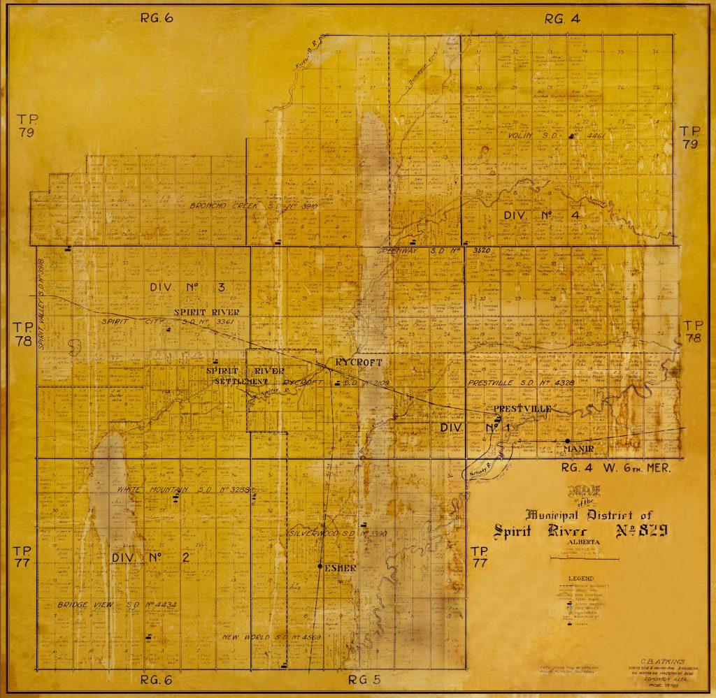 Municipal District of Spirit River map circa 1933