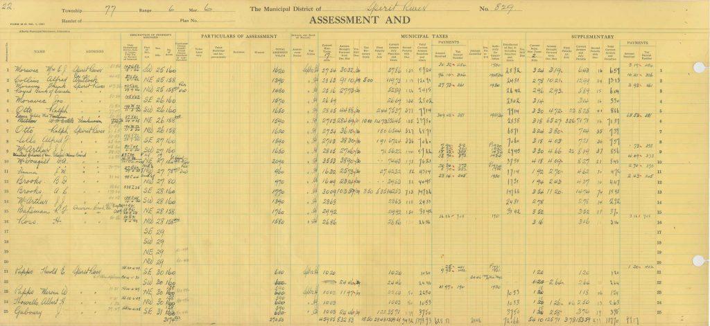 Tax assessment form
